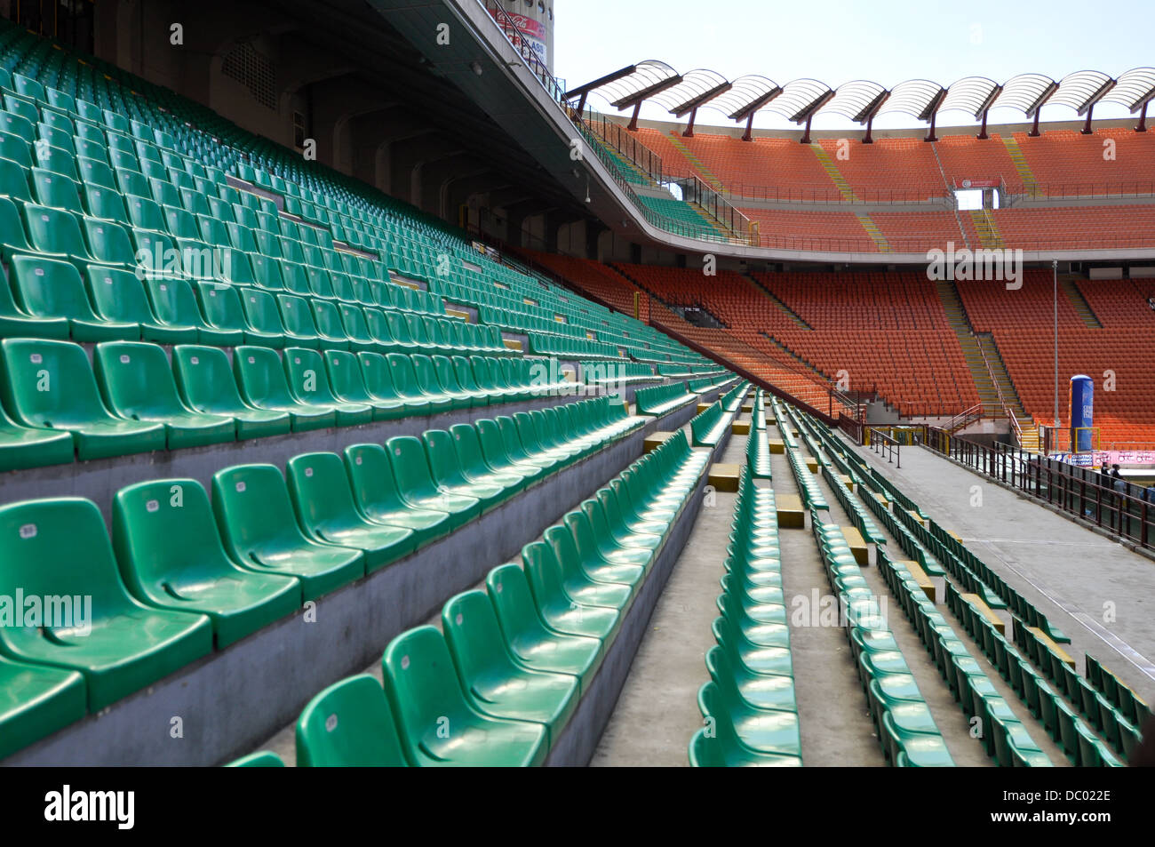 Milan San siro stadium in a wide angle lens, one of most famous football stadium in the world. Stock Photo