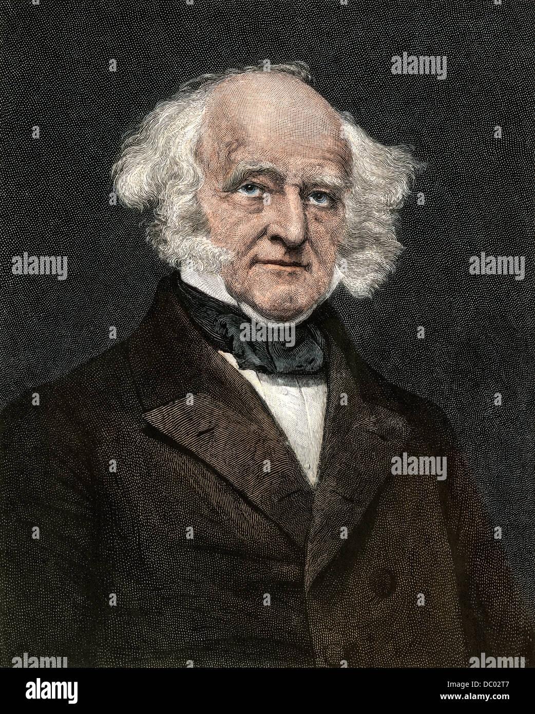 US President Martin Van Buren. Hand-colored engraving - Stock Image