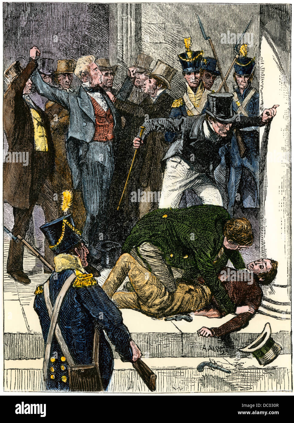 Attempted assasination of President Andrew Jackson. Hand-colored woodcut - Stock Image