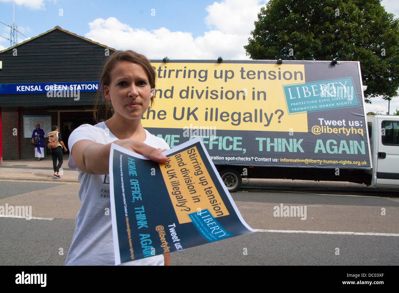 London, UK. 6th Aug, 2013. Liberty's Anti_racist van parked up outside Kensal Green Tube station in response - Stock Image