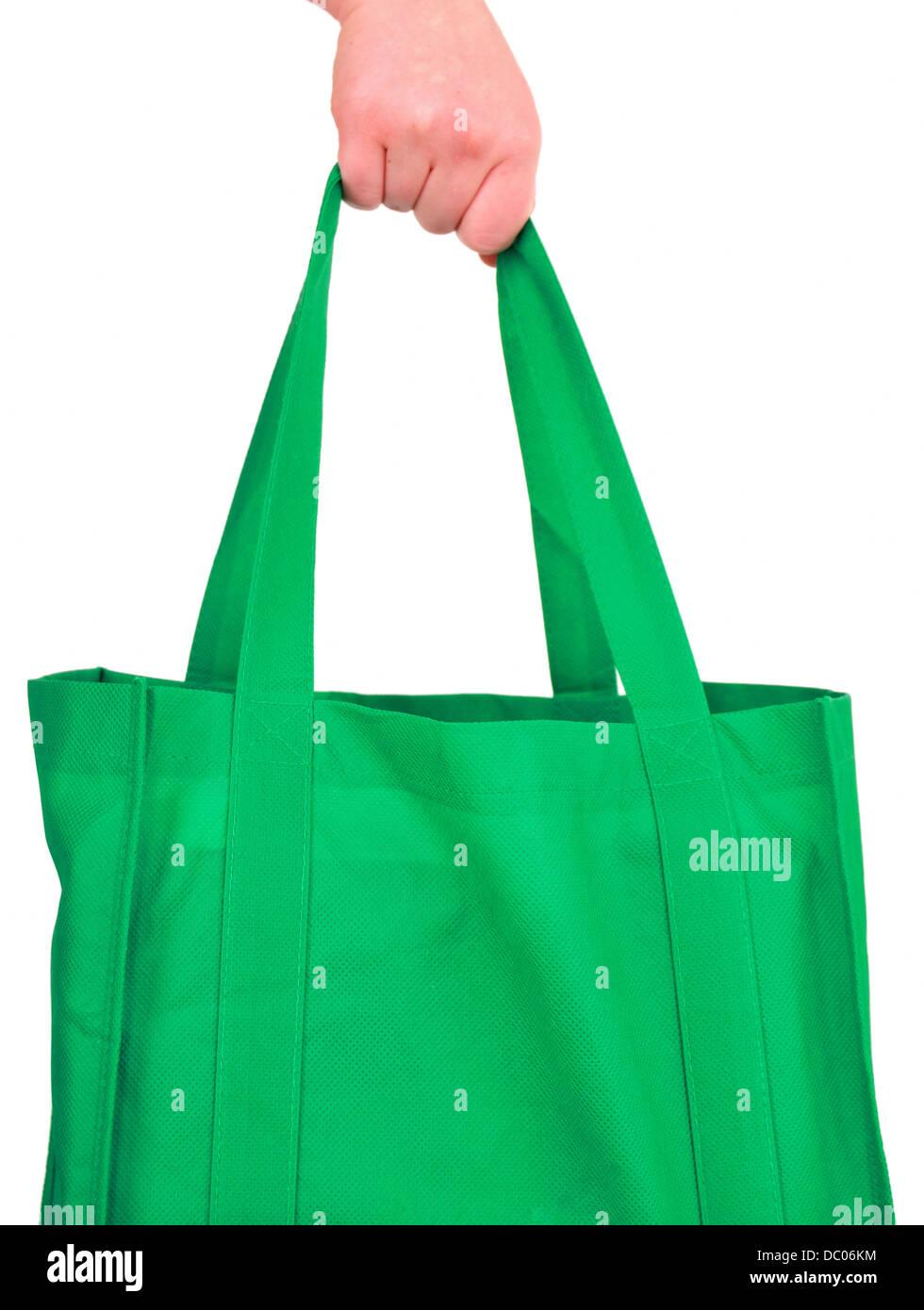 Green reusable shopping bag - Stock Image