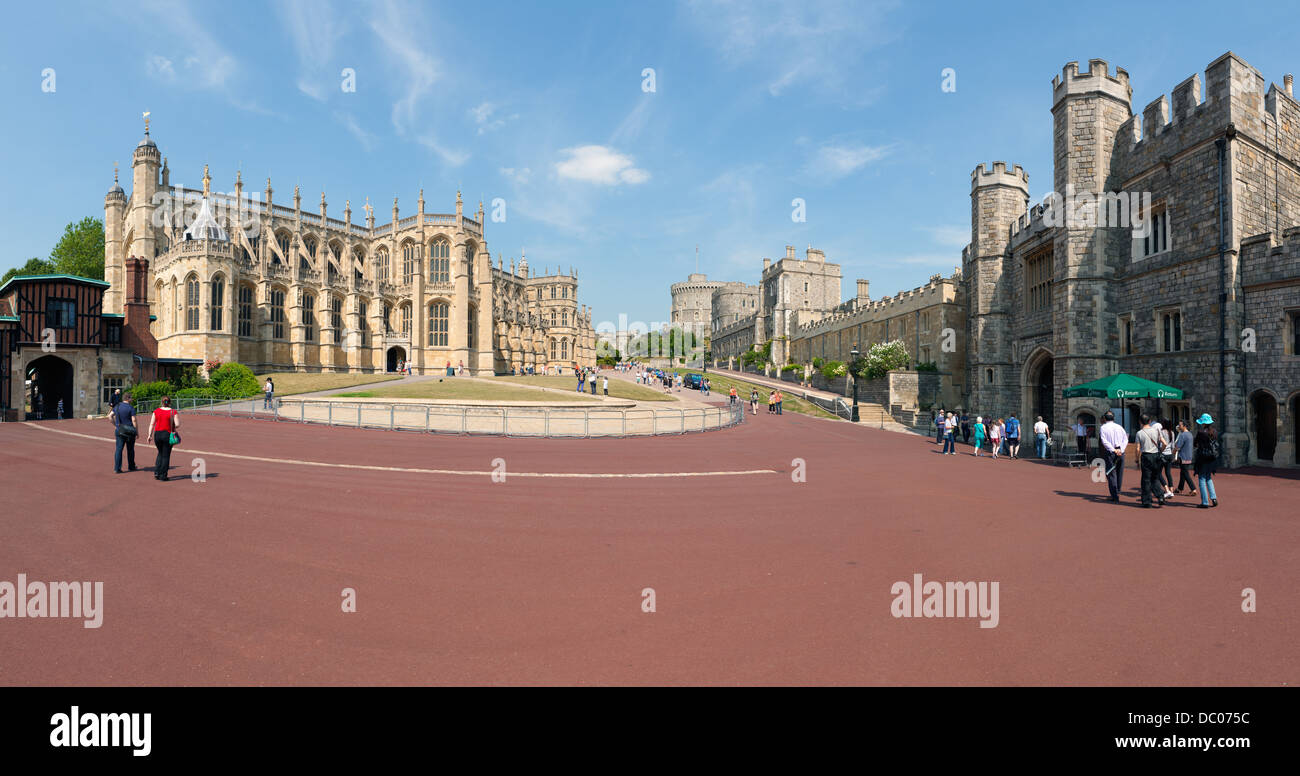 Windsor Castle panorama, from The Lower Ward of Windsor Castle - Stock Image