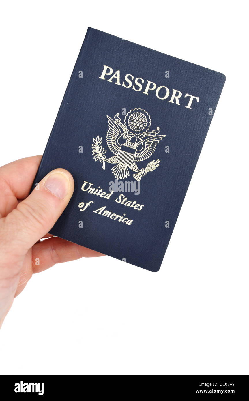 Hand holding an American passport - Stock Image