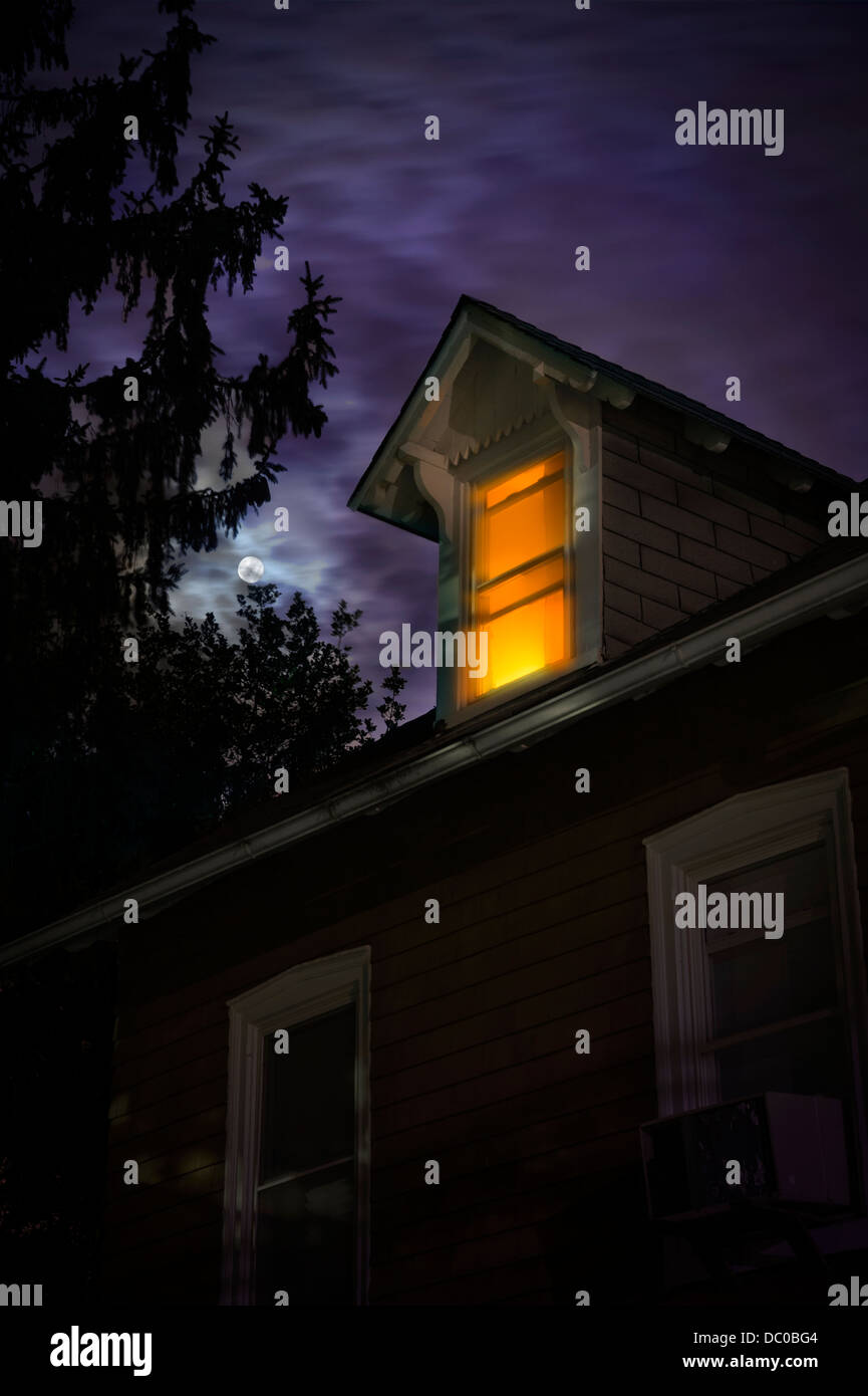 Spooky House With Moon At Night Stock Photo
