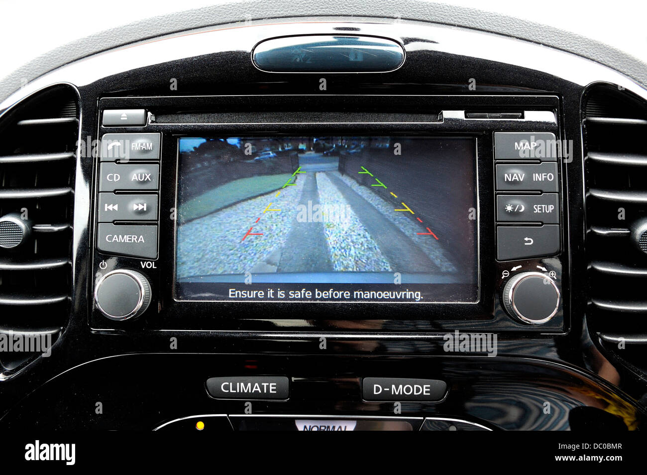 Interior Car Dashboard Of A Nissan Juke Showing Reversing Camera View