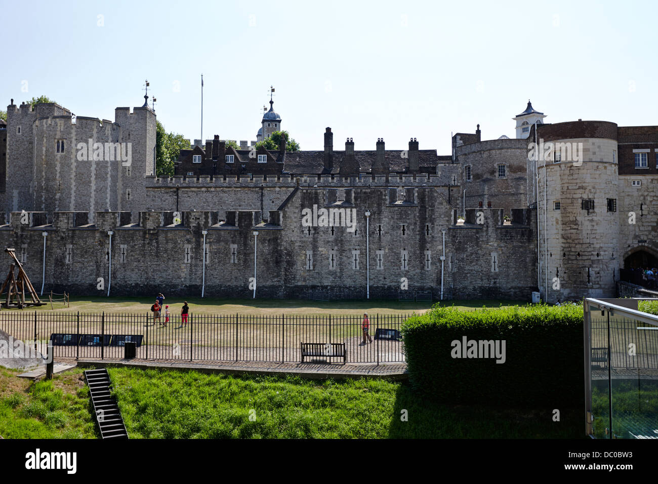 casemates and moat at the tower of London England UK - Stock Image