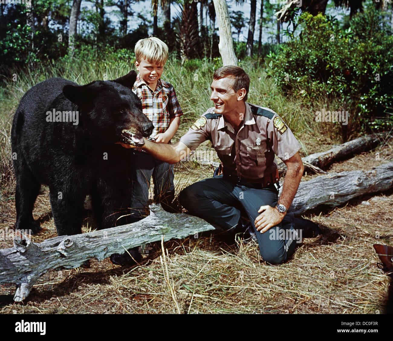 1967 GENTLE GIANT MOVIE BASED ON GENTLE BEN TV SERIES DENNIS WEAVER,GENTLE BEN, CLINT HOWARD - Stock Image