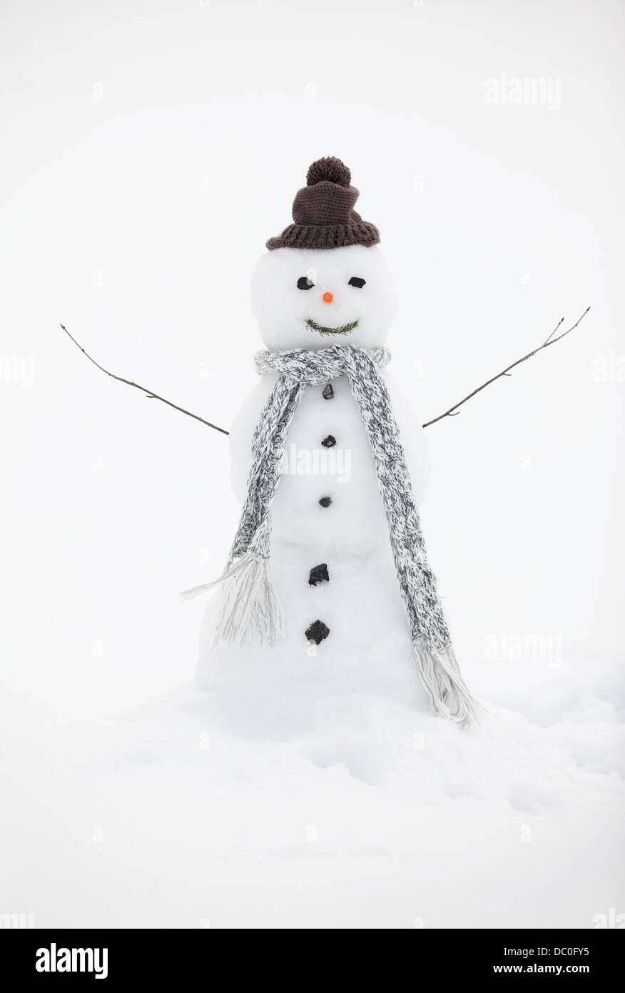 Snowman wearing knit hat and scarf - Stock Image