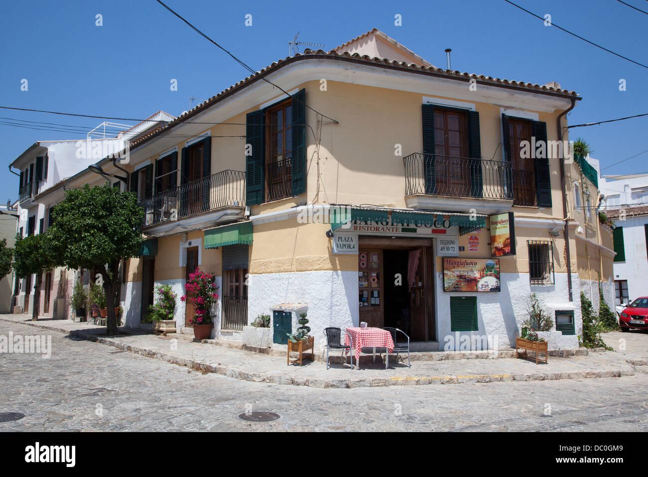 Street bar on Plaza Vapor in Palma, Majorca - Stock Image