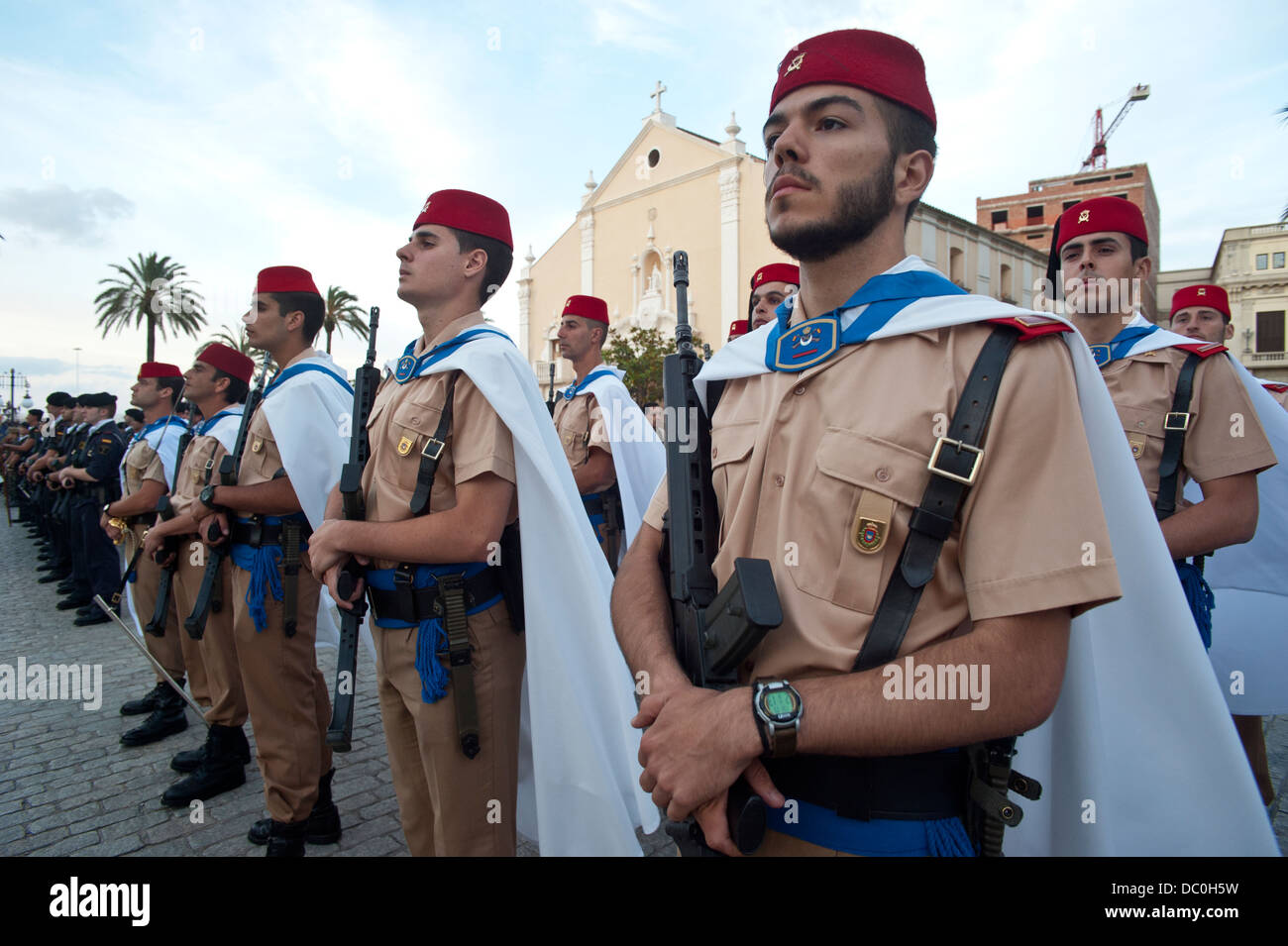 Regulares regiment in a military parade in Ceuta ( Spanish enclave on the North African coast) .Spain. ( Photo by - Stock Image