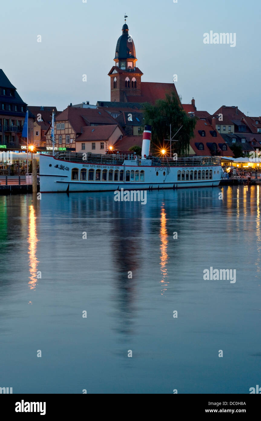 """Blue Hour"" at  Waren, Müritz, Mecklenburg, Germany. Stock Photo"