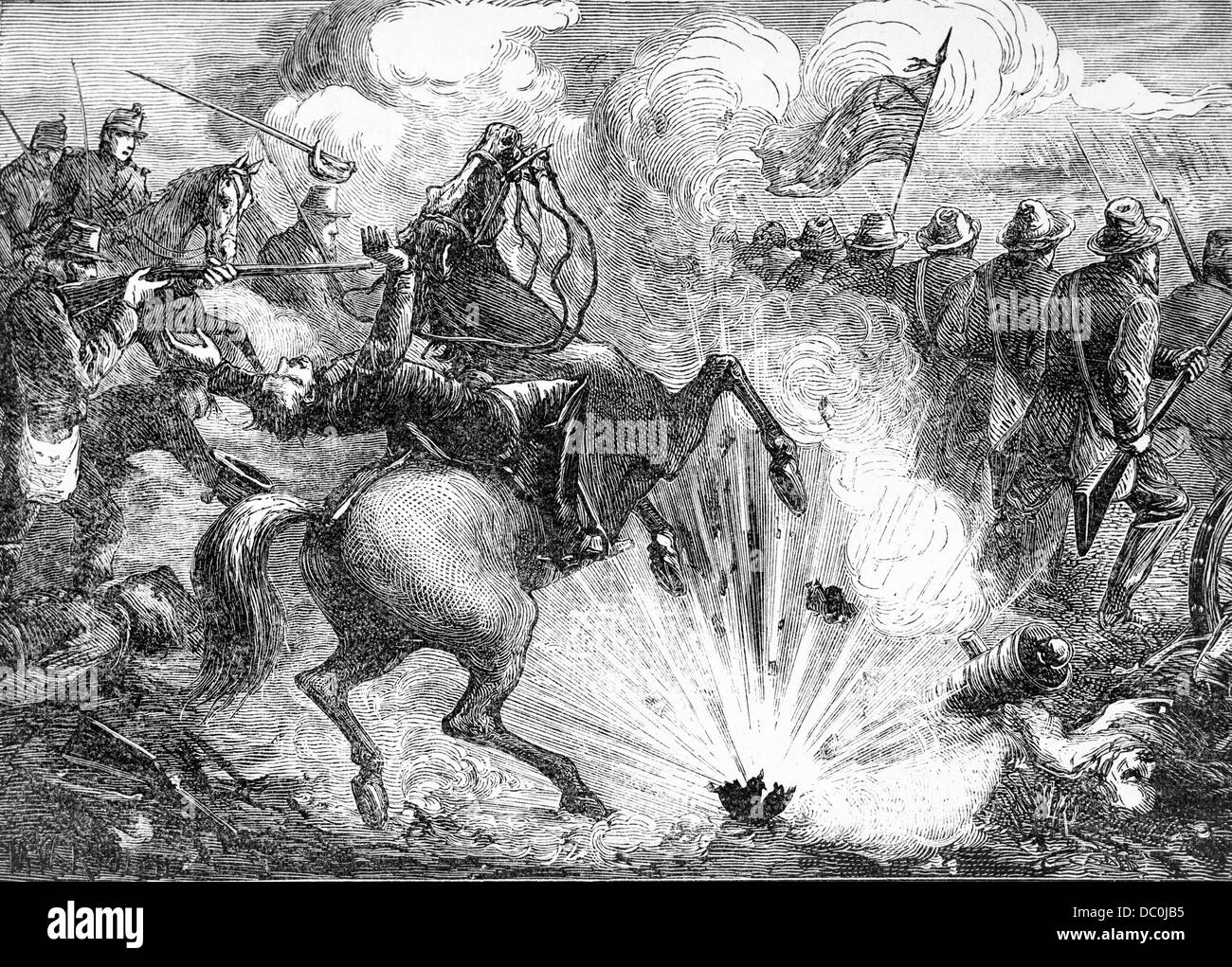1800s 1860s APRIL 1862 BATTLE OF SHILOH PITTSBURG LANDING CONFEDERATE TROOPS ADVANCING INTO EXPLODING CANNON FIRE - Stock Image