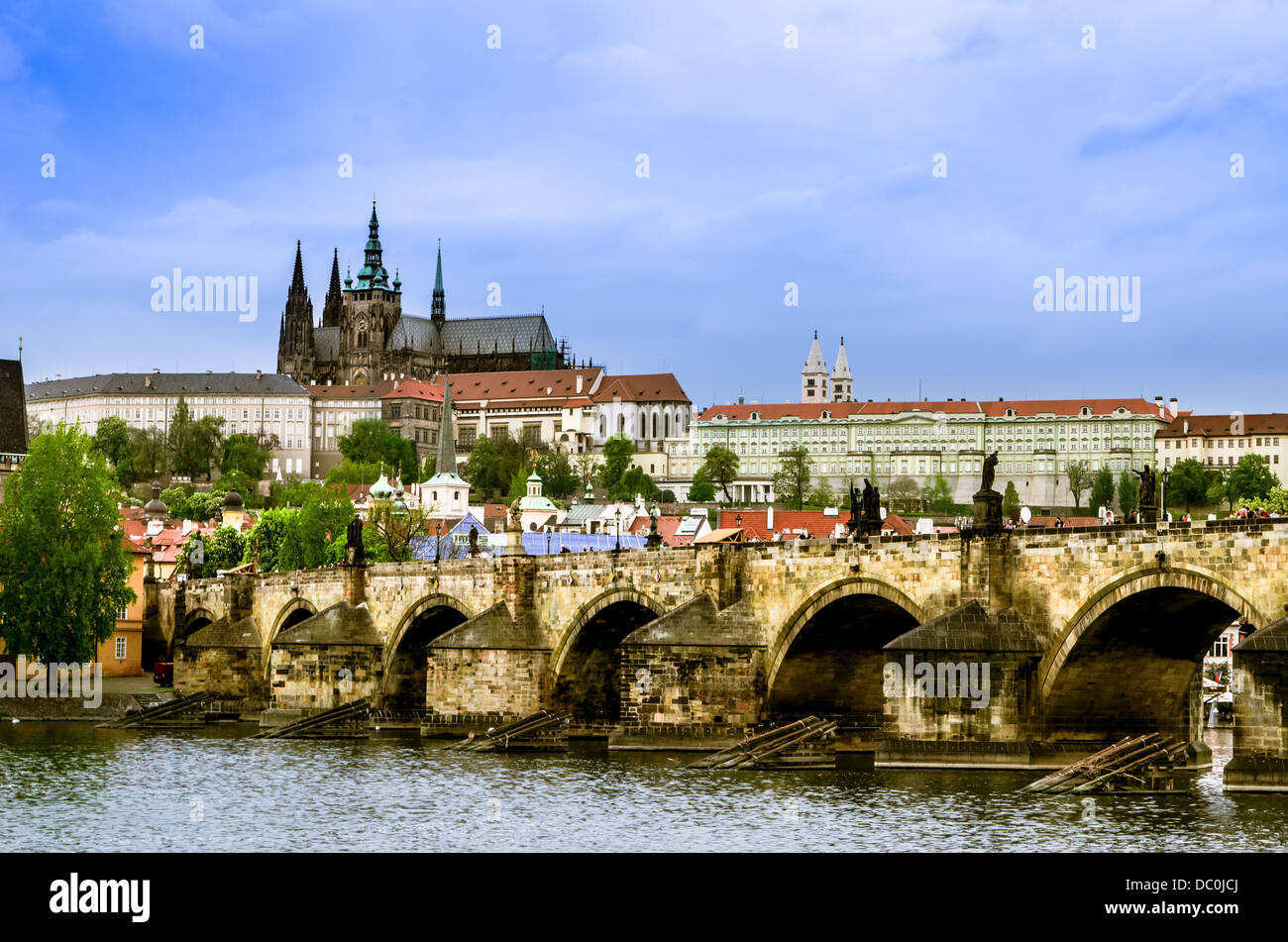 Panoramic view of Prague,capital of Czech Republic, over the Vltava river with St Vitus Cathedral city castle and Stock Photo