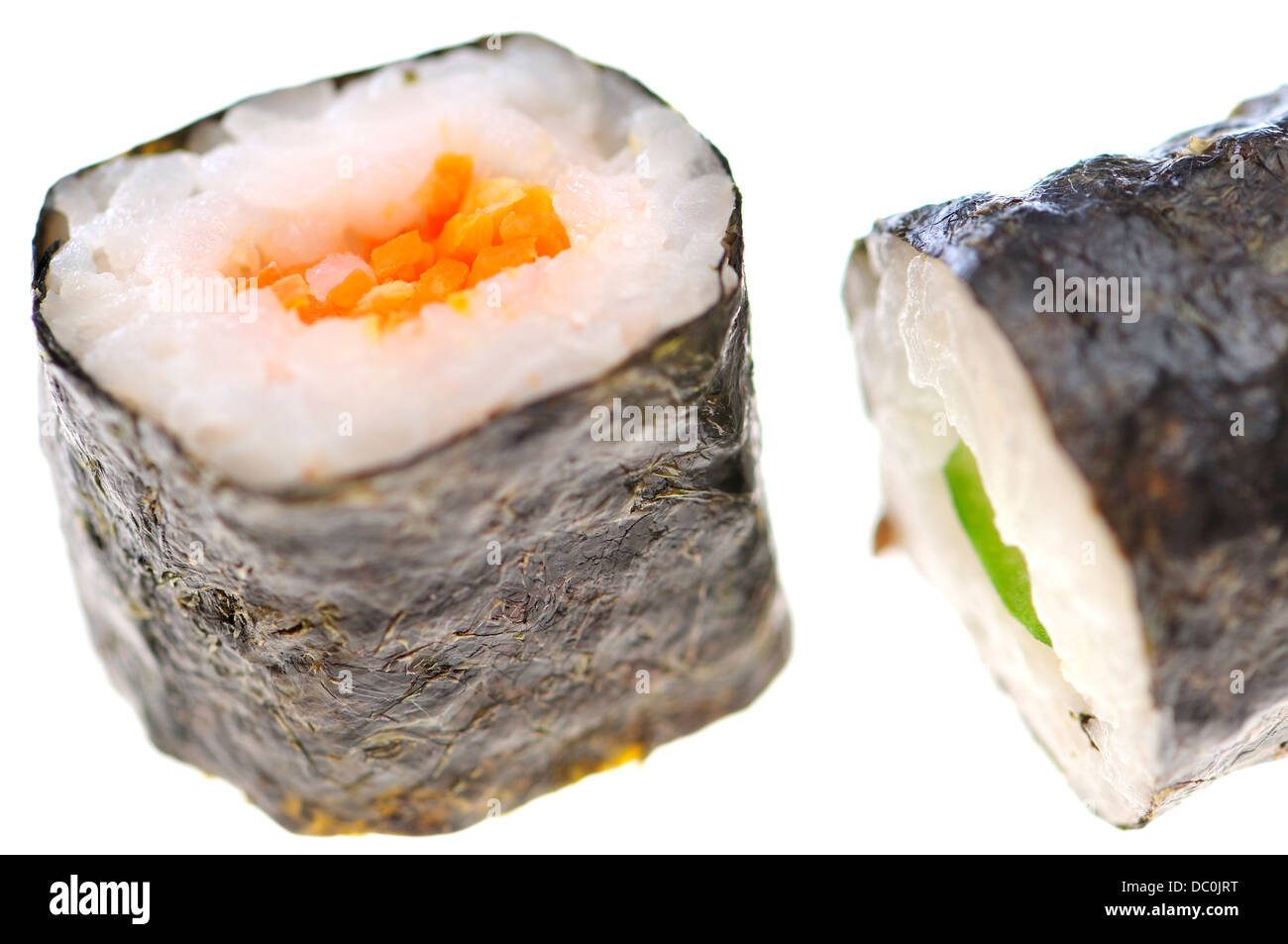 Sushi - maki (rice roll wrapped in seaweed) - Stock Image