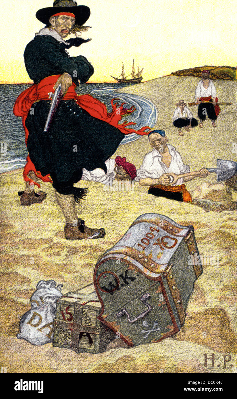 1690s ILLUSTRATION PIRATES ON BEACH DIGGING UP BURIED TREASURE BY HOWARD PYLE - Stock Image