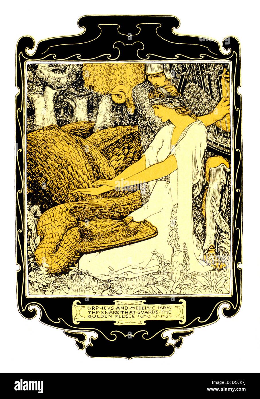 ILLUSTRATION ART NOUVEAU ORPHEUS AND MEDEA CHARM THE SNAKE THAT GUARDS THE GOLDEN FLEECE GREEK MYTHOLOGY - Stock Image