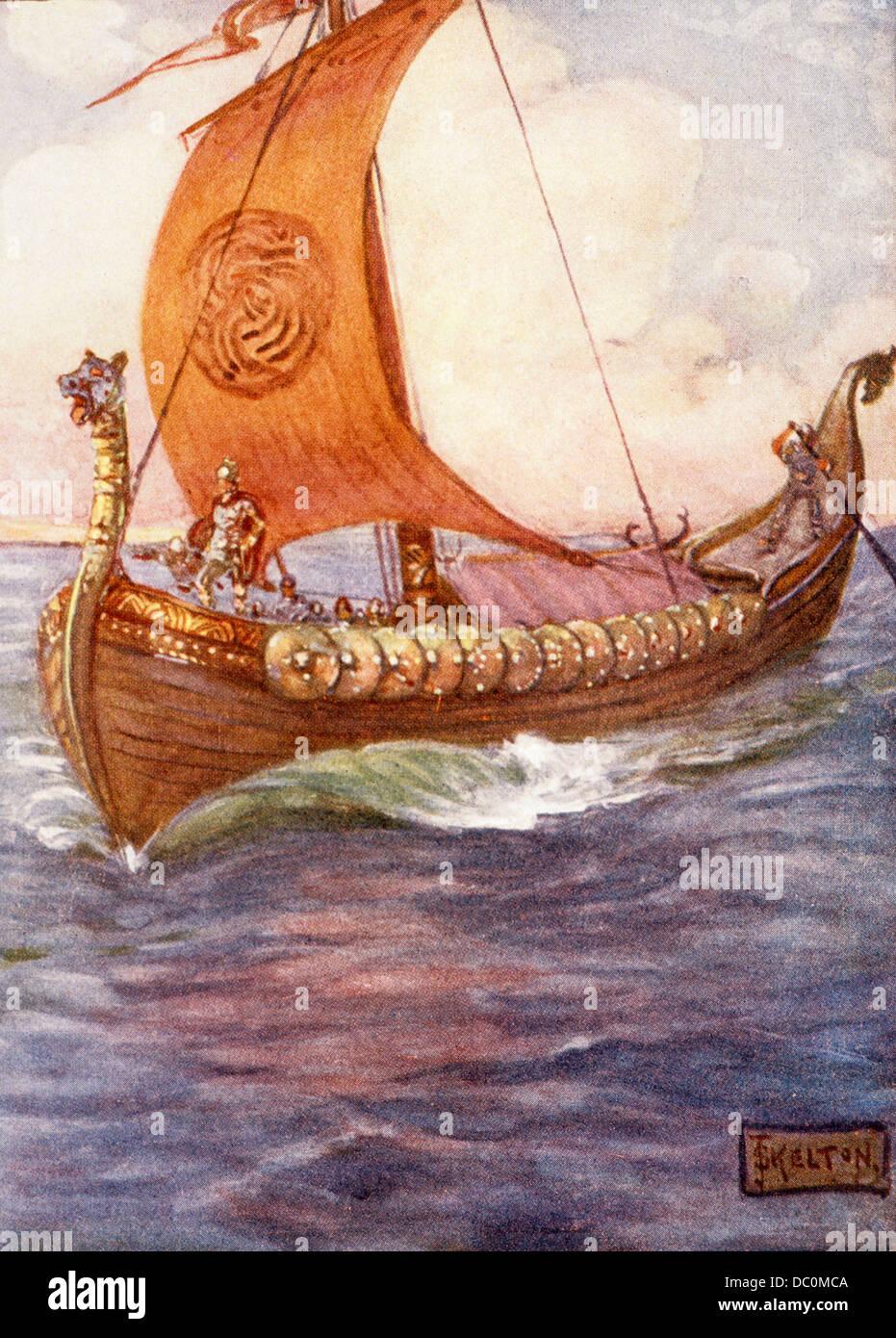1890s ILLUSTRATION BY KELTON OF BEOWULF ON VIKING SHIP SETTING SAIL FOR DANELAND - Stock Image