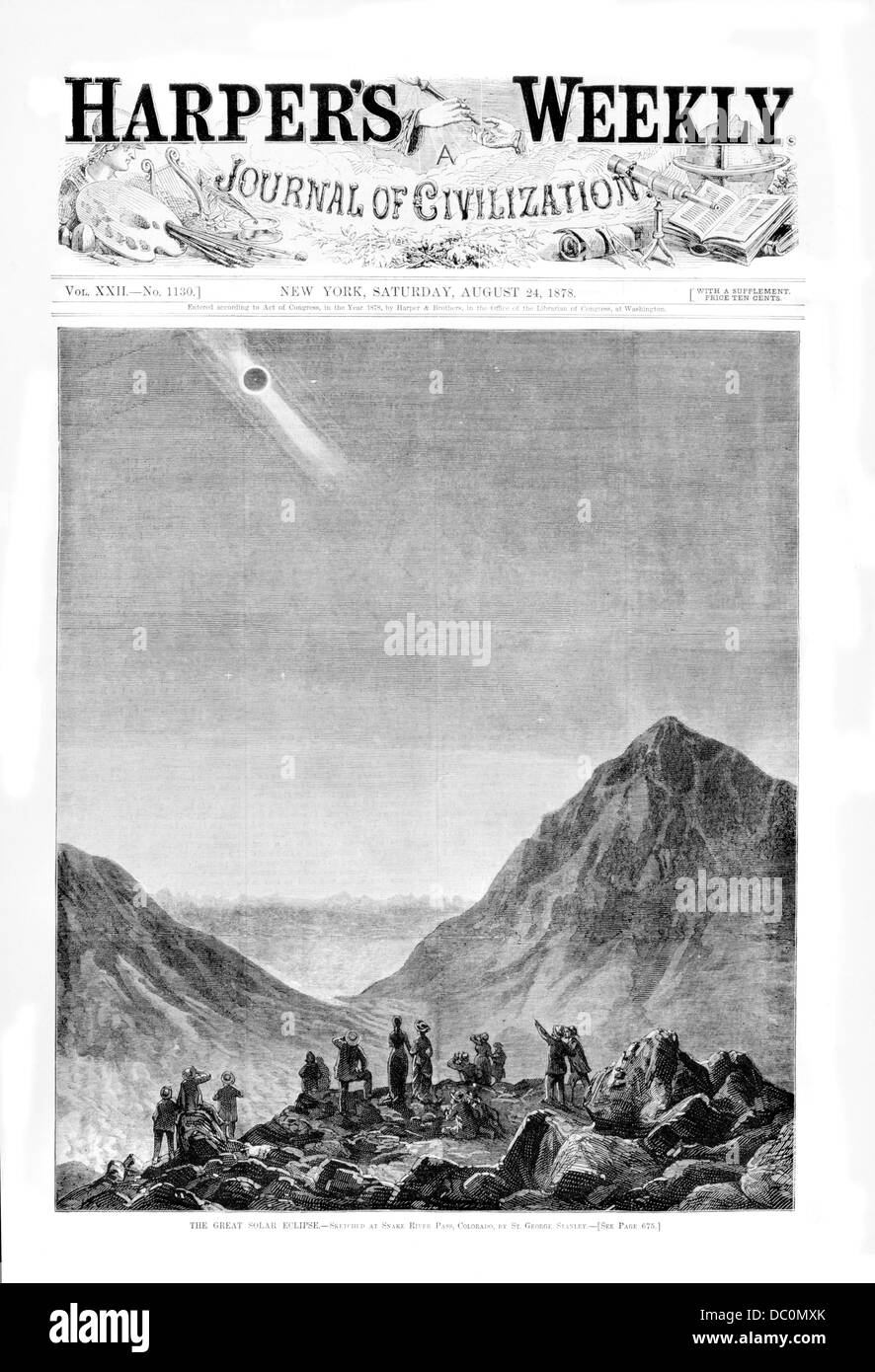1800s 1870s THE GREAT SOLAR ECLIPSE OF JULY 29 1878 SEEN FROM SNAKE RIVER PASS COLORADO USA IN HARPER'S WEEKLY - Stock Image