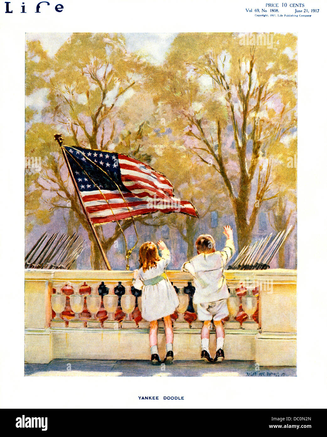 af0cf3c5b 1910s YANKEE DOODLE BOY AND GIRL WAVING WATCHING MILITARY PARADE AMERICAN  FLAG JUNE 21 1917 LIFE