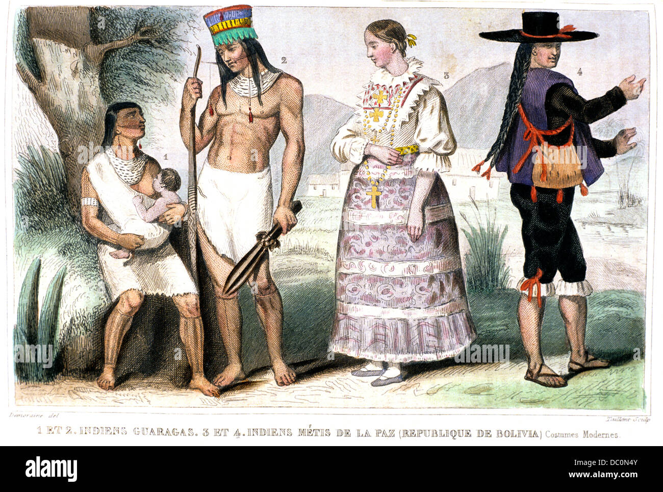 1850s French Illustration Showing Native Indigenous Indian