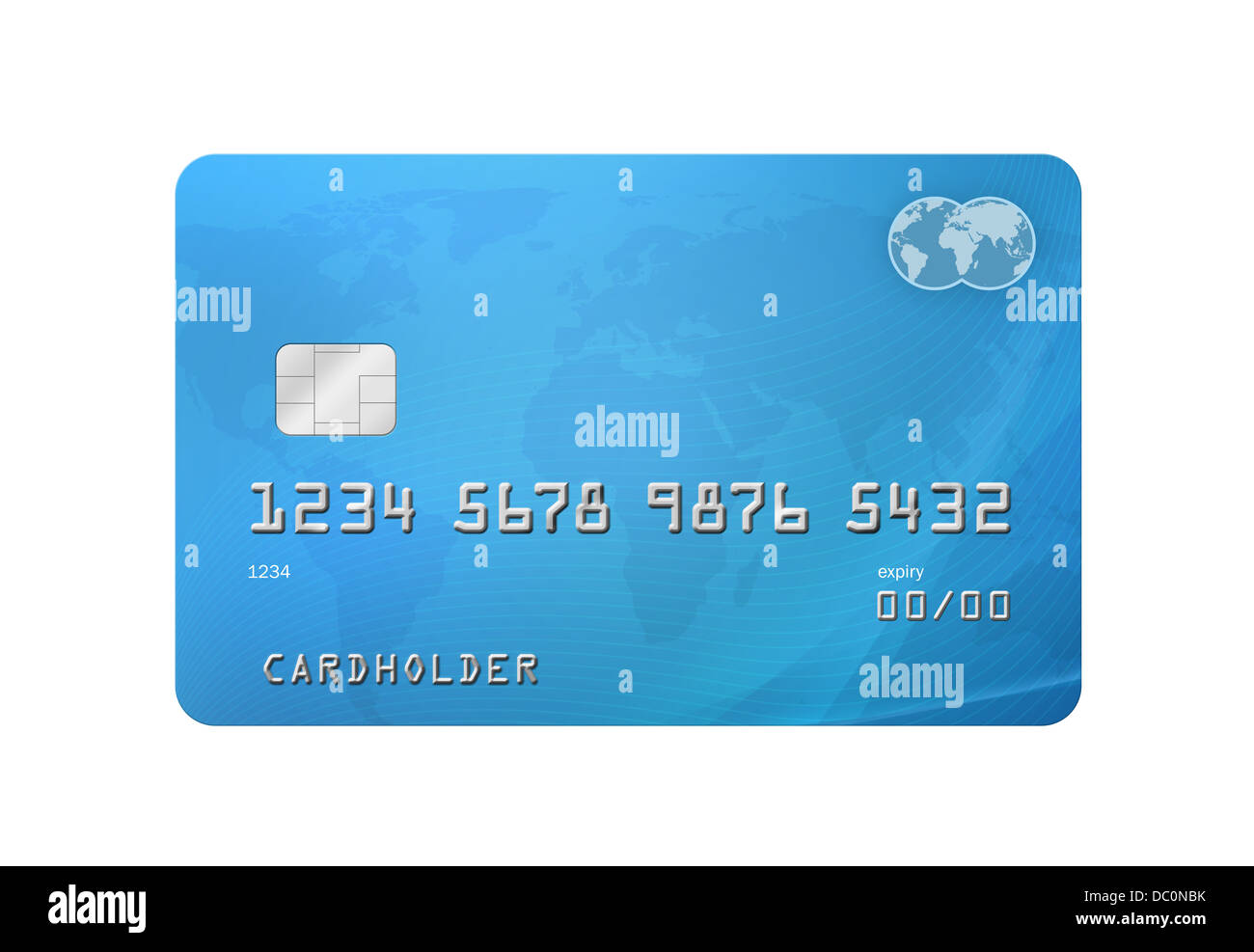 Generic creditdebit card with world map on the background and stock generic creditdebit card with world map on the background and corporate colours of grey and blue isolated on a white backgroun gumiabroncs Images