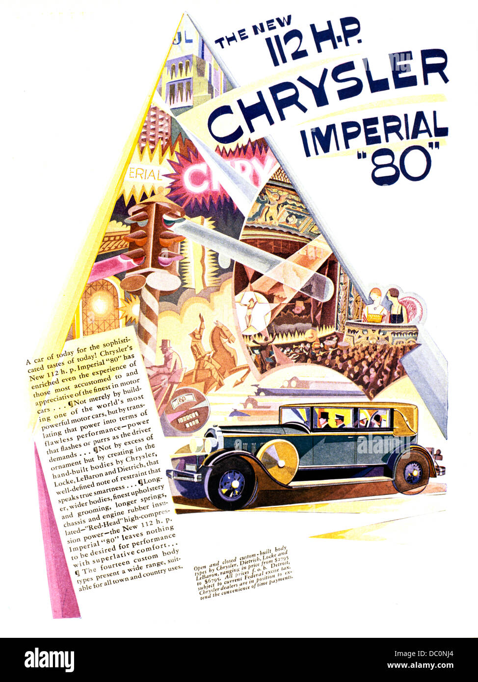 1928 AD FOR 112 H.P CHRYSLER IMPERIAL 80 AUTOMOBILE ADVERTISING FROM LIFE MAGAZINE - Stock Image