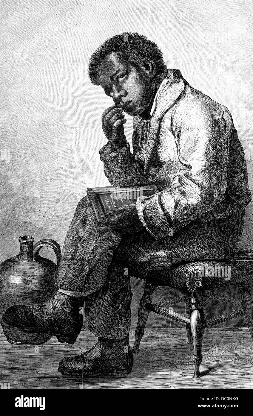 1800s 1870s young african american boy figuring on a school slate