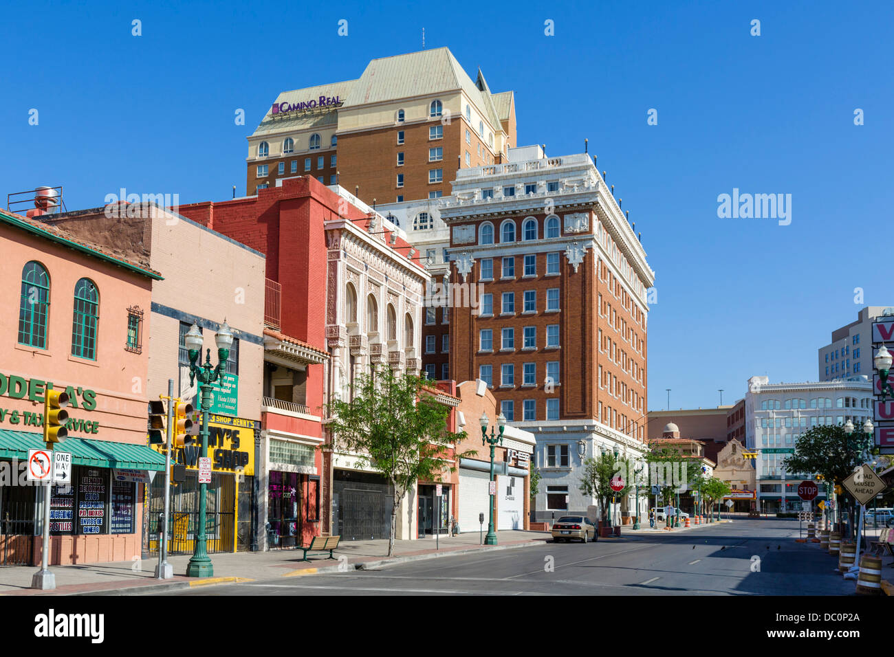 South El Paso Street looking towards the Camino Real Hotel, downtown El Paso, Texas, USA - Stock Image