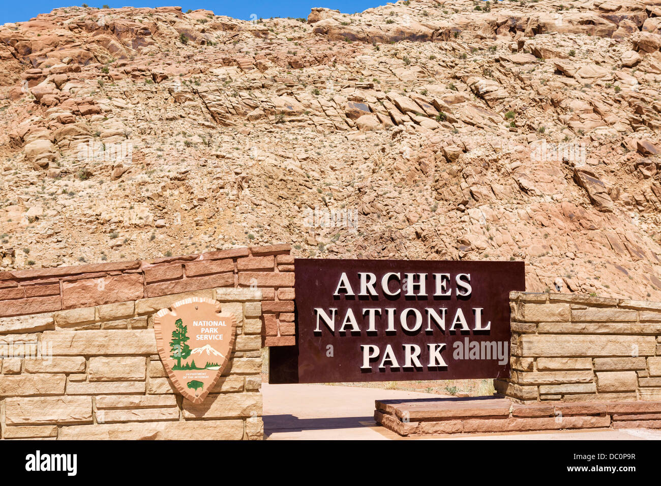 Entrance sign to Arches National Park, Utah, USA - Stock Image
