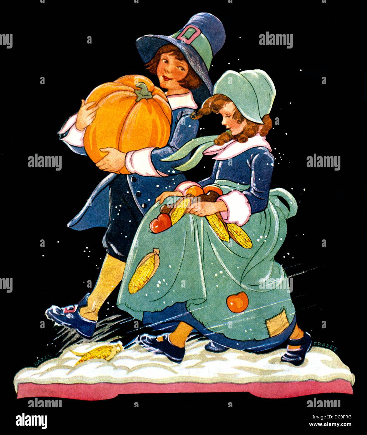 1930s ILLUSTRATION BOY AND GIRL DRESSED AS PILGRIMS CARRYING PUMPKIN FALL HARVEST VEGETABLES THANKSGIVING - Stock Image