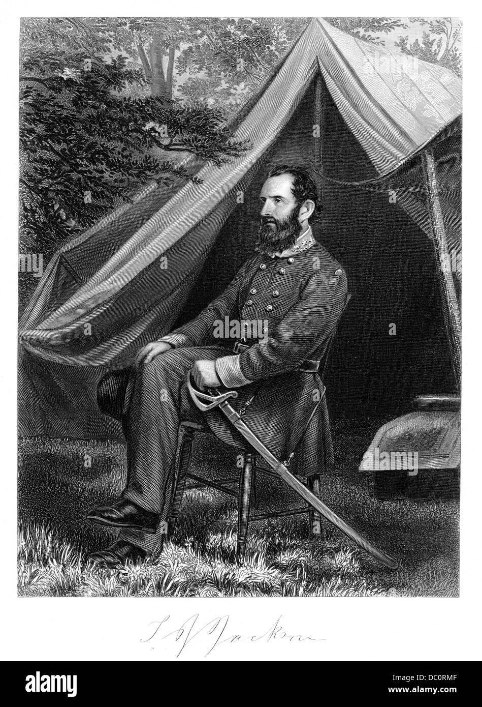 1800s 1860s PORTRAIT CONFEDERATE GENERAL THOMAS STONEWALL JACKSON DIED AFTER BATTLE OF CHANCELLORSVILLE MAY 1863 - Stock Image