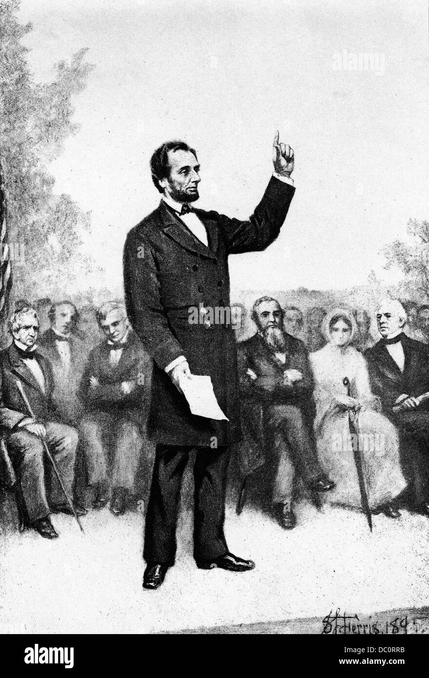 1800s 1860s NOVEMBER 19 1863 ABRAHAM LINCOLN DELIVERING GETTYSBURG ADDRESS AT DEDICATION OF SOLDIERS NATIONAL CEMETERY Stock Photo