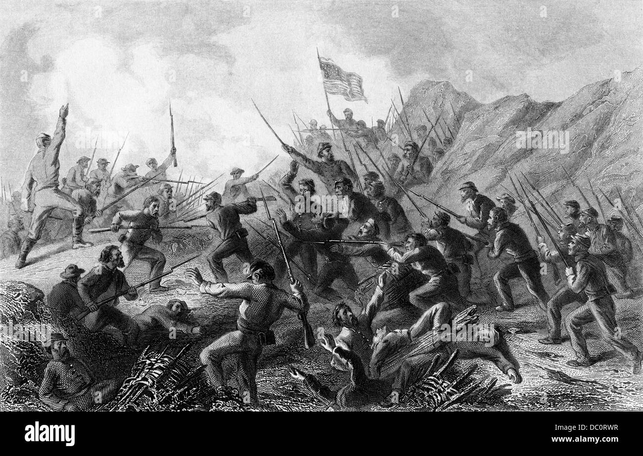 1800s 1860s AMERICAN CIVIL WAR JUNE 1863 FIGHT IN THE CRATER DURING THE SIEGE OF VICKSBURG MISSISSIPPI USA - Stock Image