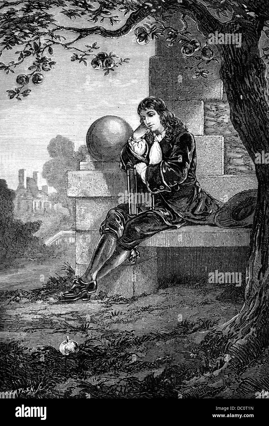 1600s ENGRAVING OF SIR ISAAC NEWTON AS YOUNG MAN SITTING UNDER APPLE TREE PONDERING DROPPING APPLE AND GRAVITY Stock Photo