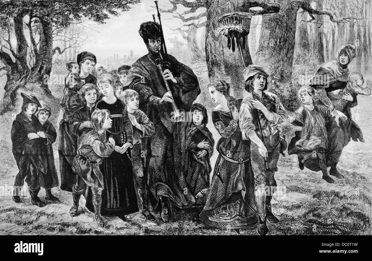 1300s PIED PIPER OF HAMELIN LEADING CHILDREN THROUGH FOREST GERMAN MYTH LEGEND POEM BY ROBERT BROWNING MUSIC - Stock Image