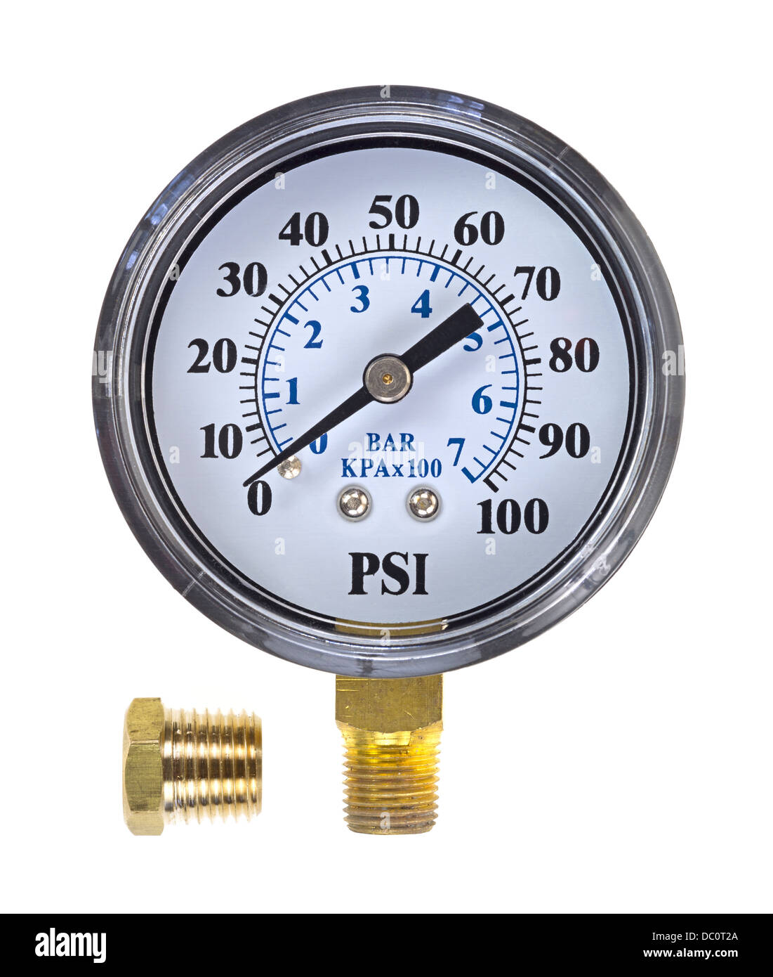 A new water pressure gauge with a brass coupling on a white background. - Stock Image