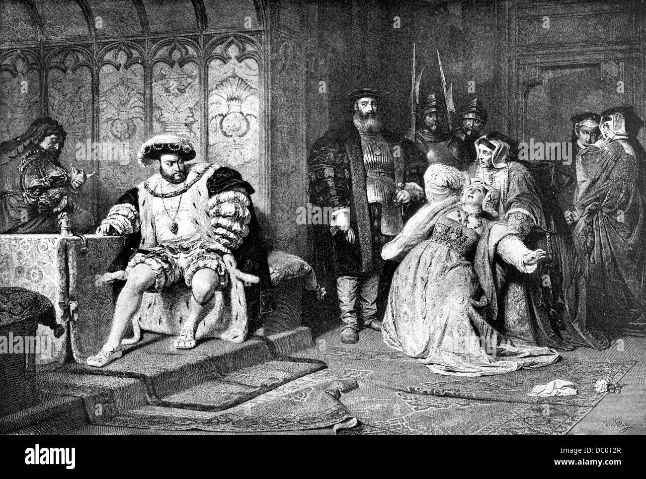 1500s KING OF ENGLAND HENRY VIII TELLING ANNE BOLEYN QUEEN CONSORT MOTHER OF ELIZABETH I OF HER SORRY FATE BEHEADED - Stock Image
