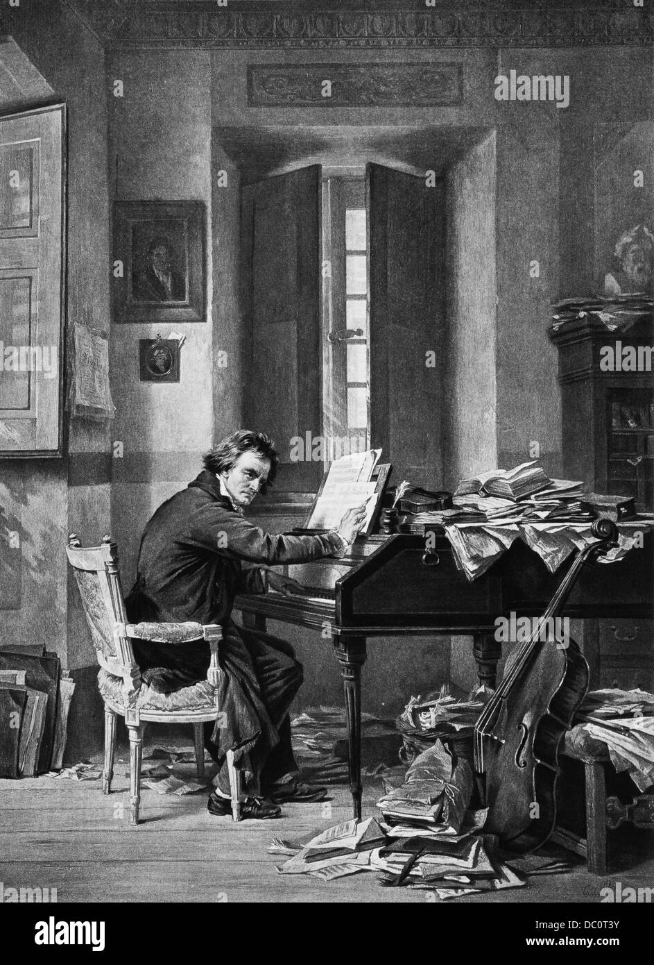1800s 1811 PAINTING BY SCHLOESSER OF LUDWIG VAN BEETHOVEN IN HIS STUDY IN VIENNA SEATED AT THE PIANO COMPOSING - Stock Image