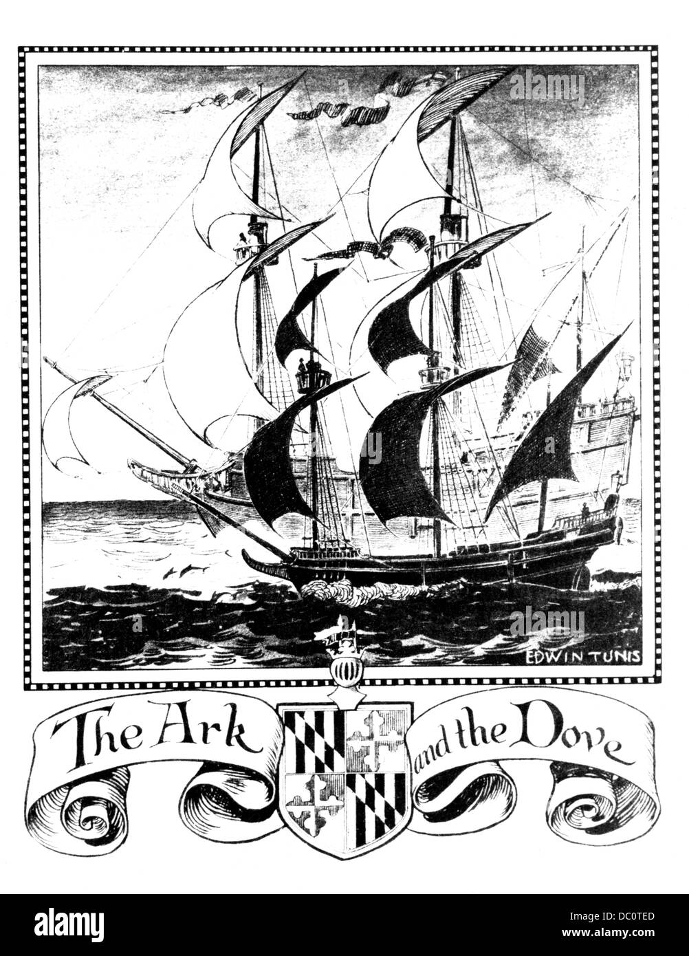 ILLUSTRATION OF ENGLISH SHIPS THE ARK AND THE DOVE FIRST COLONIZING SHIPS TO MARYLAND 1634 - Stock Image