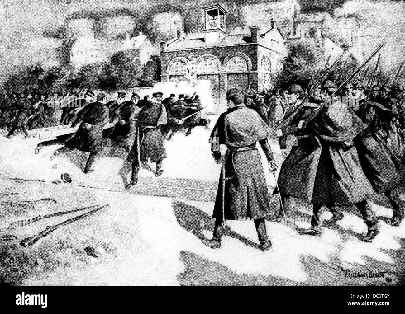 1859 COLONEL ROBERT E LEE'S MARINES BREAKING INTO ENGINE HOUSE HARPER'S FERRY WV CAPTURING JOHN BROWN & - Stock Image