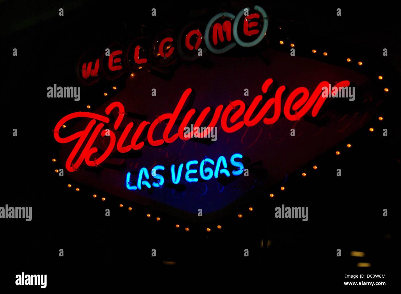 Budweiser neon advertising sign in Las Vegas Stock Photo