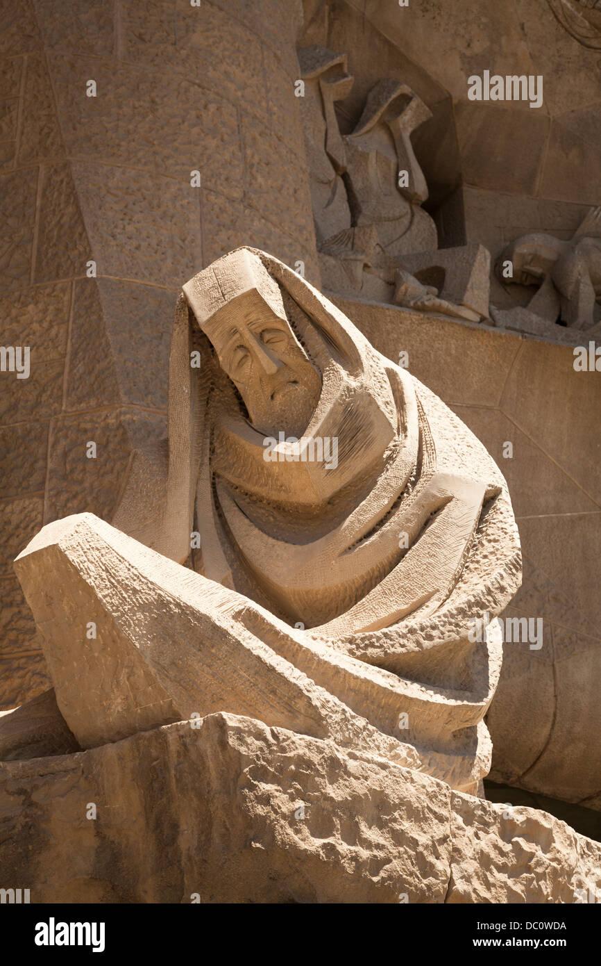 Sculpture the Denial of St Peter at La Sagrada Familia - Stock Image
