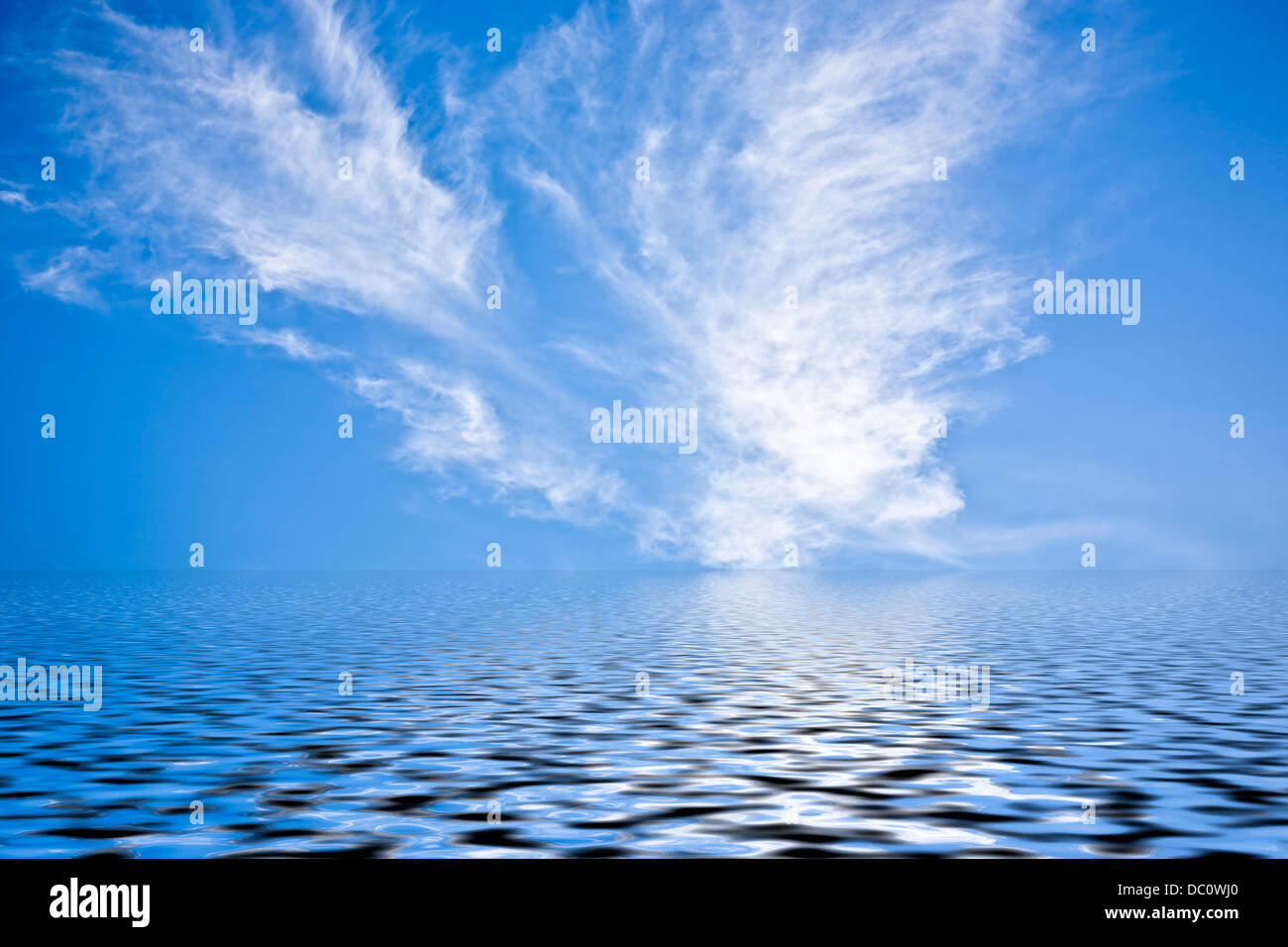 White and gray clouds in blue sky. - Stock Image