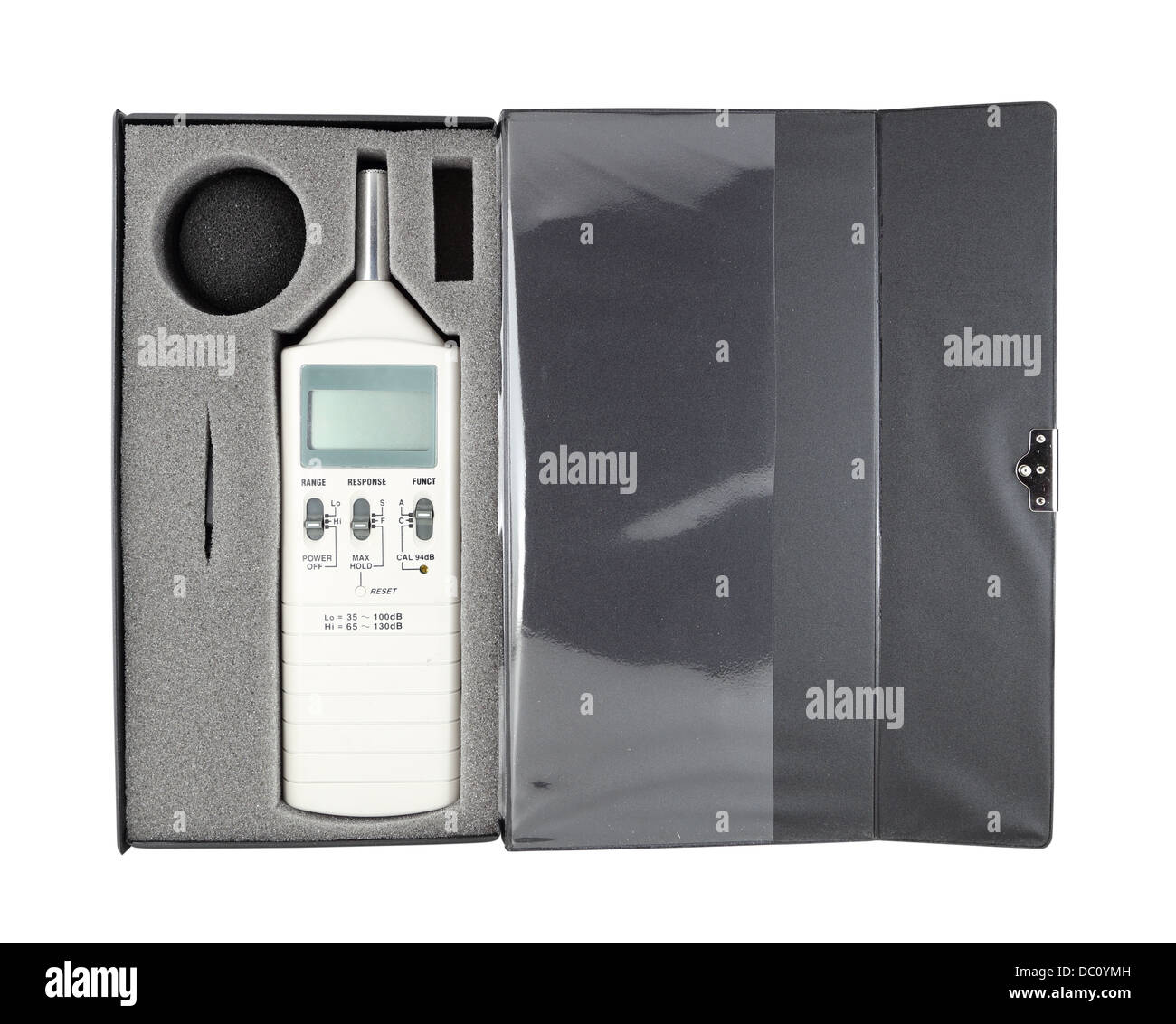sound level meter in box (with clipping path) - Stock Image