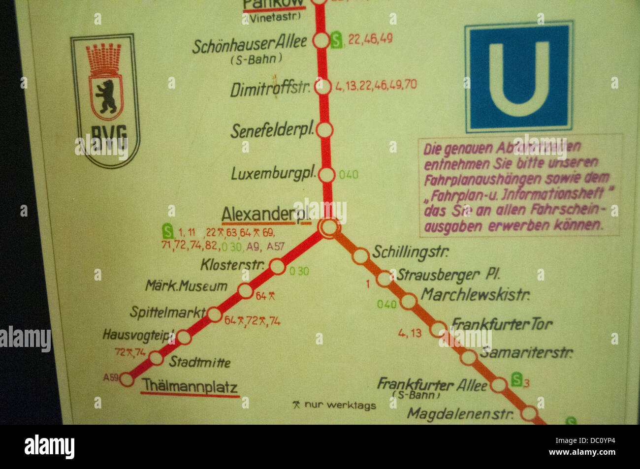 Germany, Berlin. Nordbanhof Station. Display mapping East Berlin 'ghost stations'. Stock Photo