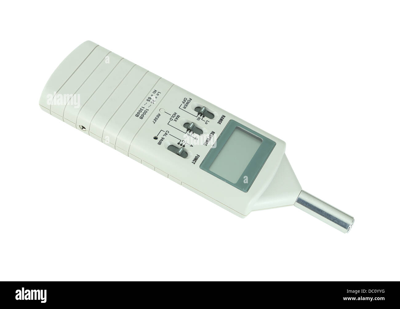 sound level meter on white background (with clipping path) - Stock Image