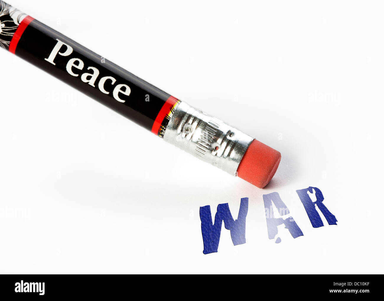 concept of peace erasing war using an eraser analogy - Stock Image