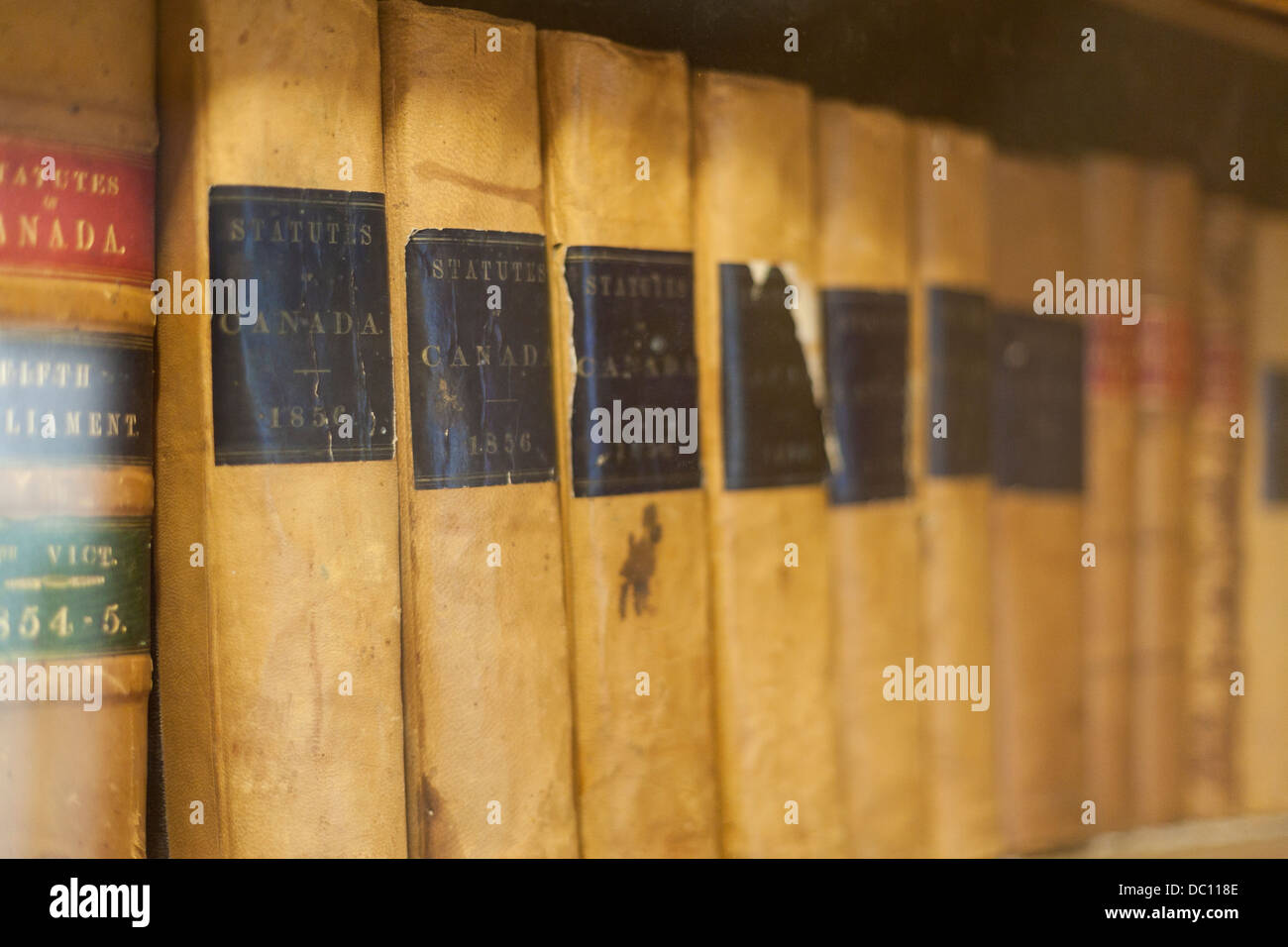 Old Statutes Of Canada Books From 1856 Law On A Dusty Bookshelf Pinheys Point Ottawa Ontario