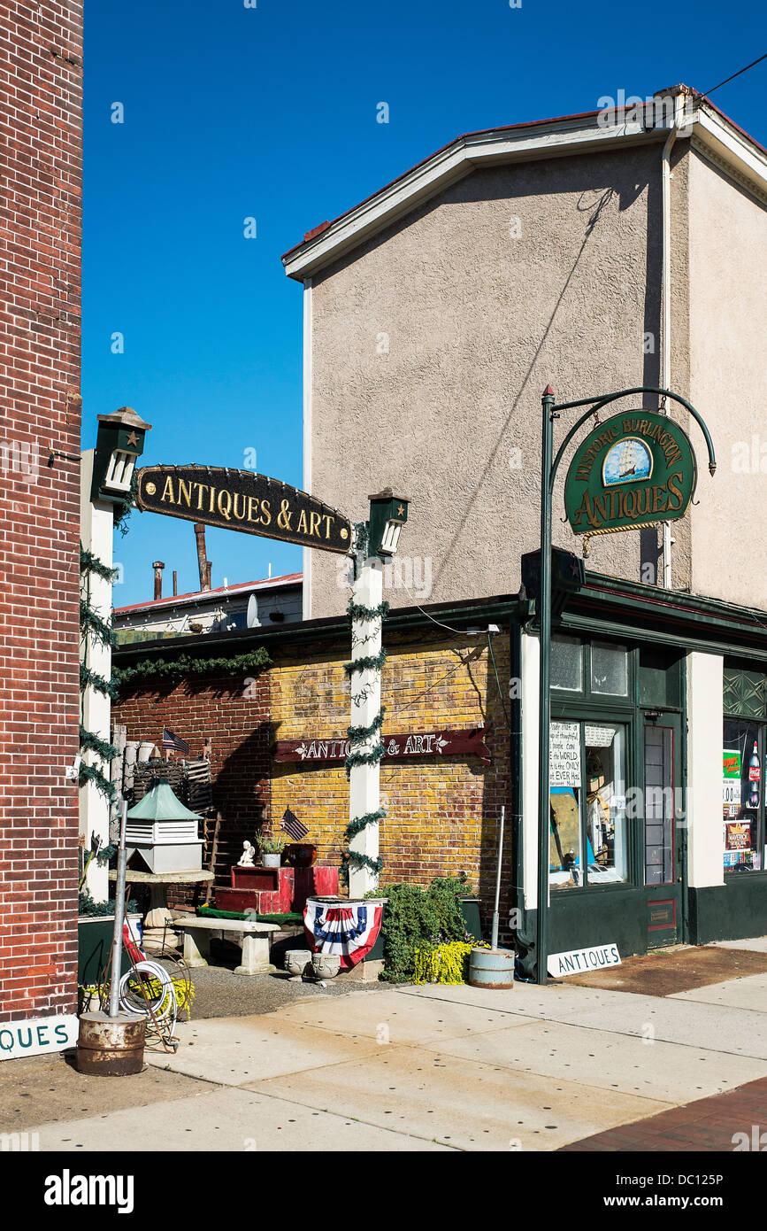 Historic Burlington Antiques, Burlington, New Jersey, USA - Stock Image