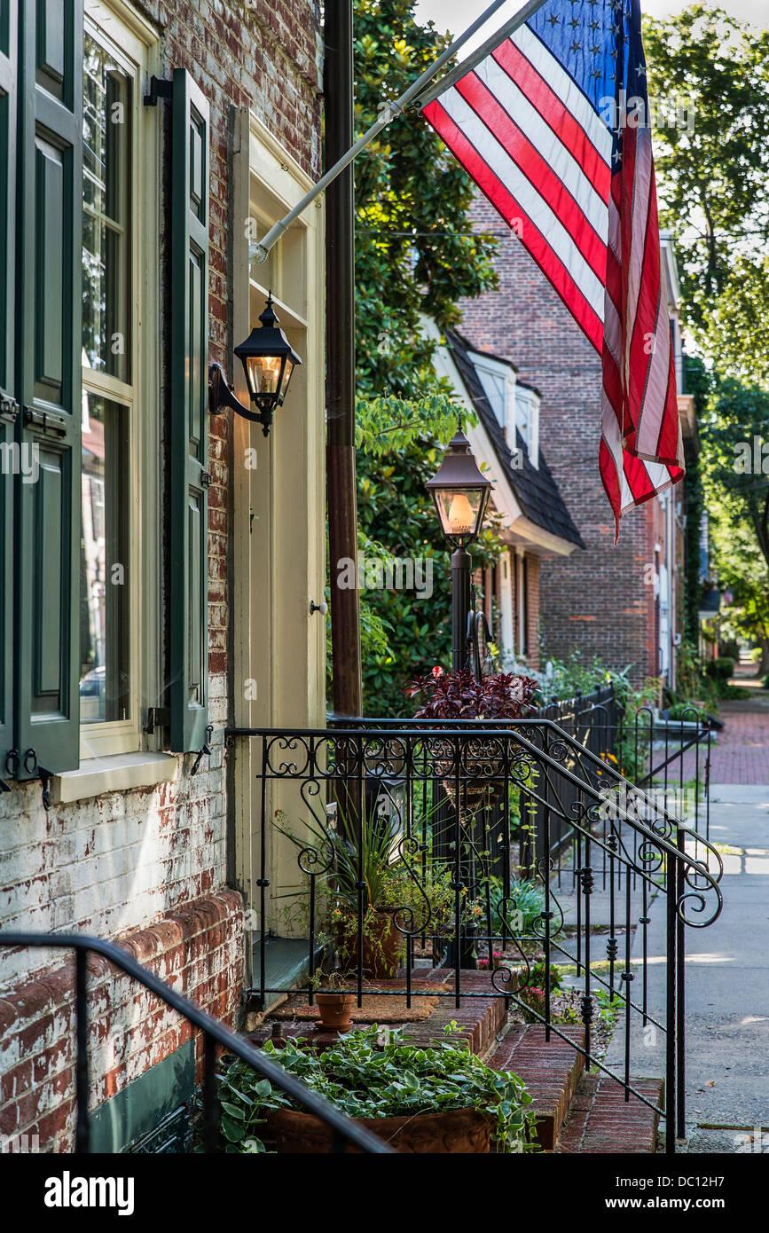 Quaint colonial house on historic, Burlington, New Jersey, USA - Stock Image